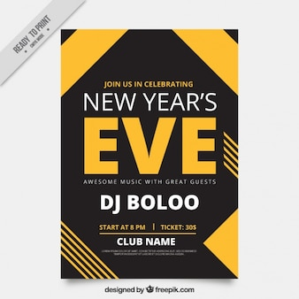 New year's eve poster template with geometric shapes