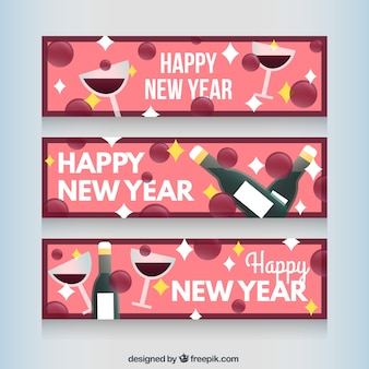 new year wine banners