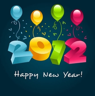 New year  with colorful balloon