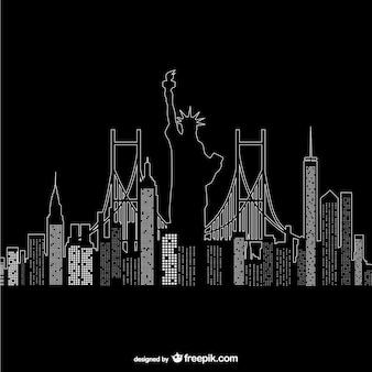 New York night time vector