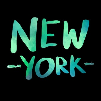 New york watercolor text