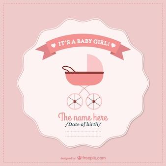 Newborn baby girl card with a pink pram