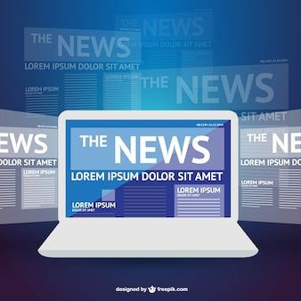 News vector laptop template