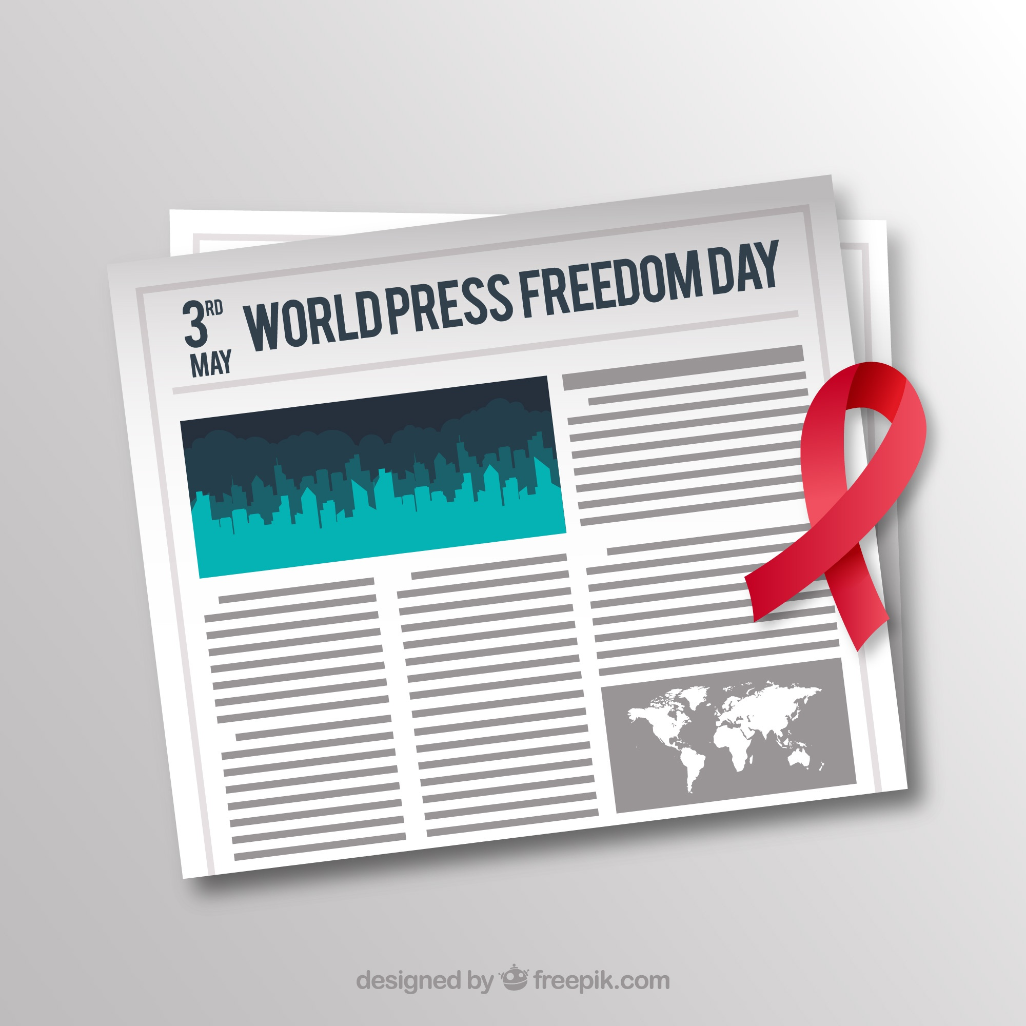 Newspaper background with red ribbon