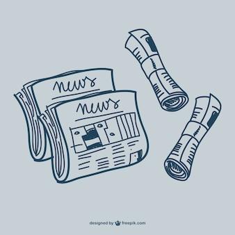 Newspaper doodle graphics