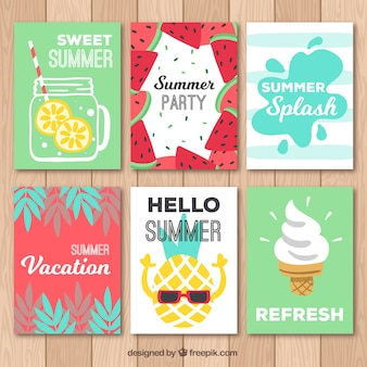 Nice and funny summer cards set