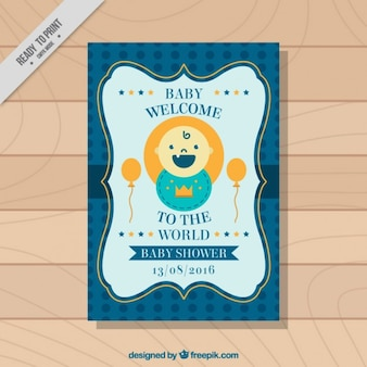 Nice baby shower card in retro style