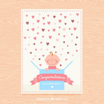 Nice baby shower card with hearts