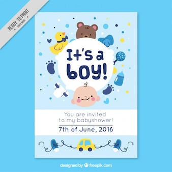 Nice baby shower card with lovely accessories