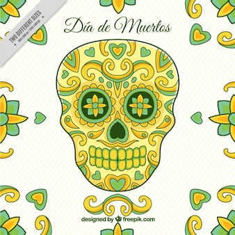 Nice background for day of the dead in green and yellow tones