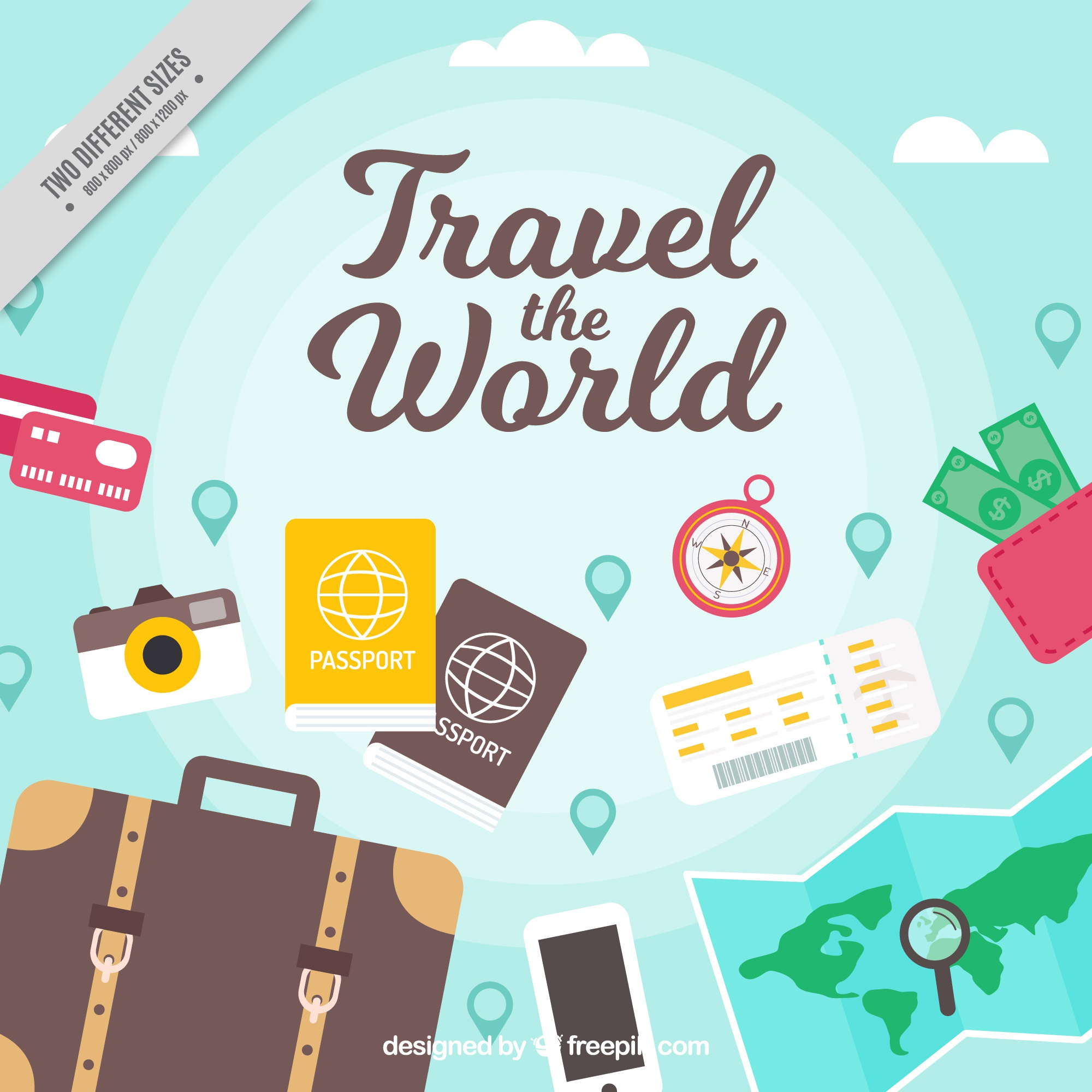 Nice background with flat objects to travel