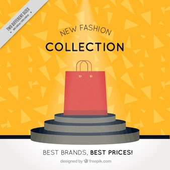 Nice background with geometric shapes and bright shopping bag