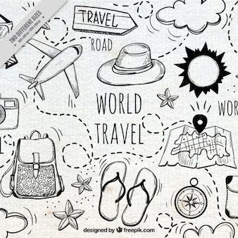 Nice background with hand-drawn travel elements