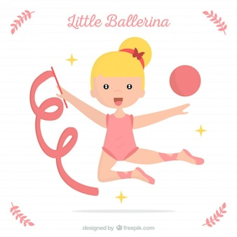 Nice ballerina with a ribbon and ball