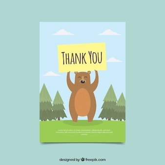 Nice bear card with thank you poster