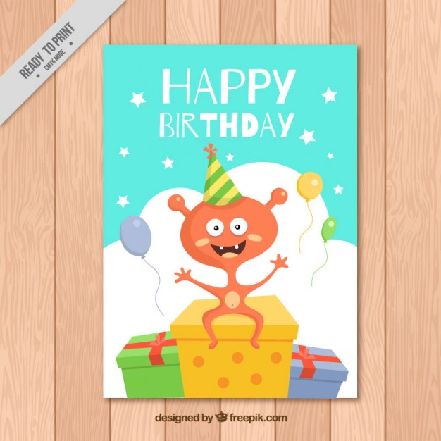 Nice birthday card with a character