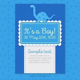 Nice blue baby shower card with a dinosaur
