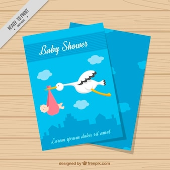 Nice blue baby shower card with stork