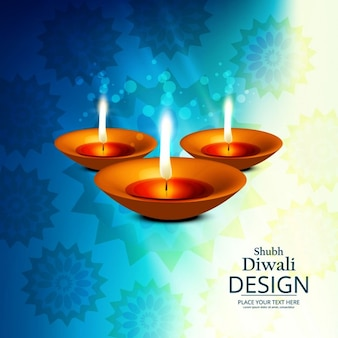 Nice blue background with three candles to celebrate diwali