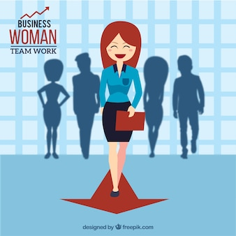 Nice businesswoman with silhouettes