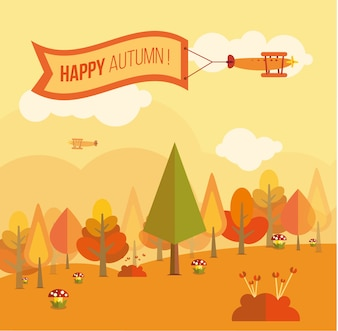Nice card with an autumnal landscape