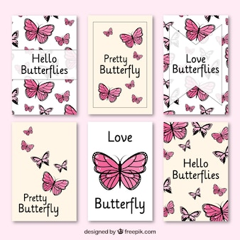 Nice cards with butterflies in pink tones