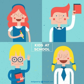 Nice children at school in a retro style set