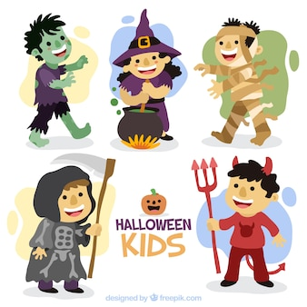 Nice children set with hand-drawn halloween costumes