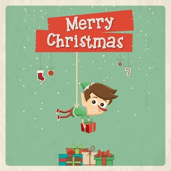 Nice christmas card with elf placing gifts