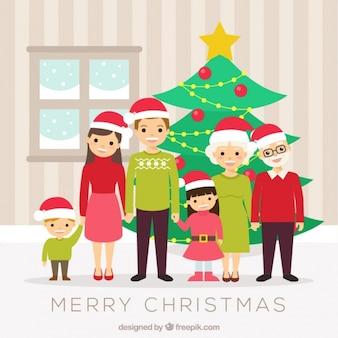 ツリーニースクリスマスの家族