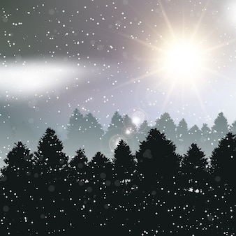 Nice christmas landscape with trees