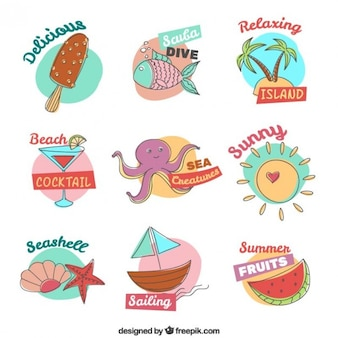 Nice collection of hand drawn summer element