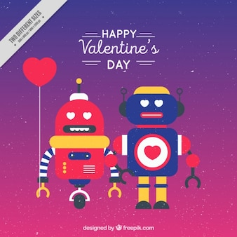 Nice colorful couple of robots background