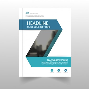 Nice corporate leaflet with shapes in blue tones