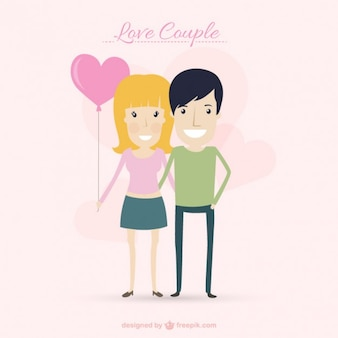 Nice couple with a balloon heart shaped