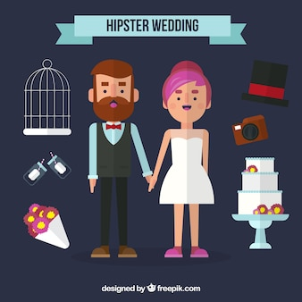 Nice couple with hipster elements