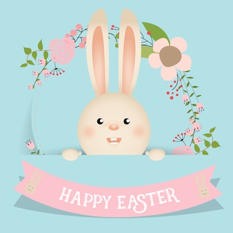 Nice easter bunny with ribbon and flowers