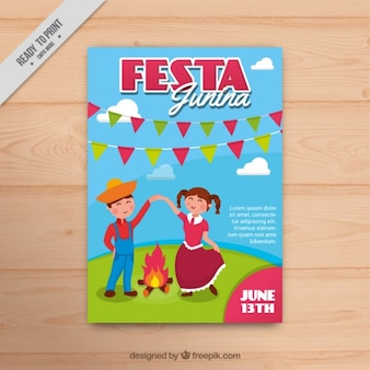 Nice festa junina flyer with a couple dancing