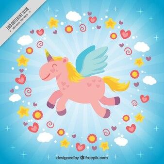 Nice flying unicorn background
