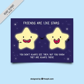 Nice friendship card with bright star characters