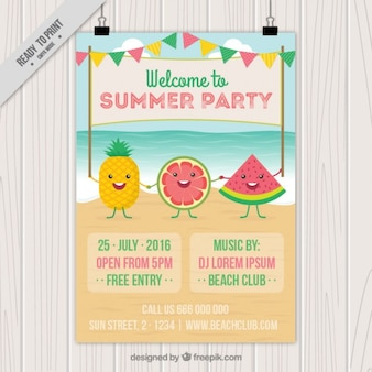 Nice fruits on the beach summer party poster