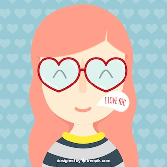 Nice girl with glasses heart shaped