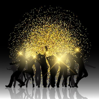 Nice golden background with silhouettes of people partying