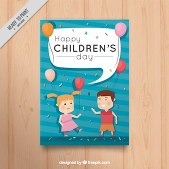 Nice greeting card of children with balloons