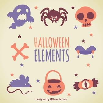 Nice halloween elements in vintage style