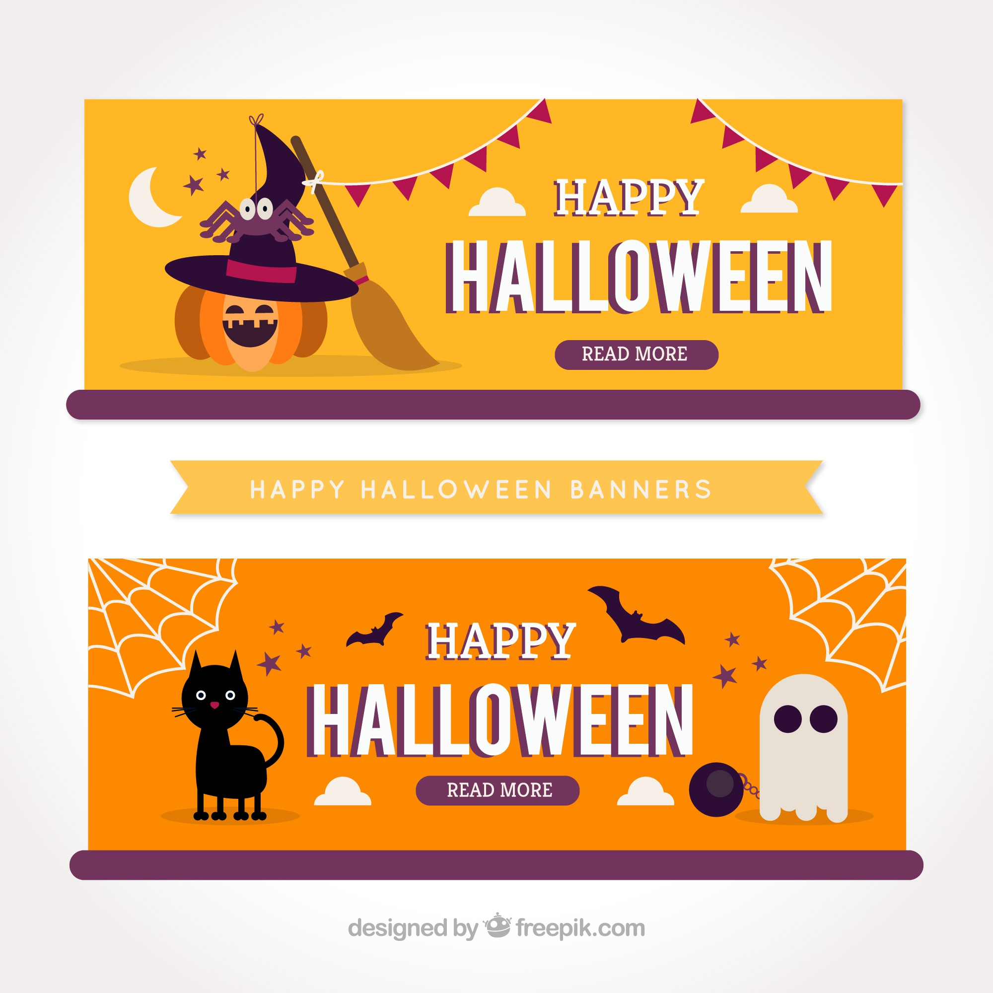 Nice halloween party banners