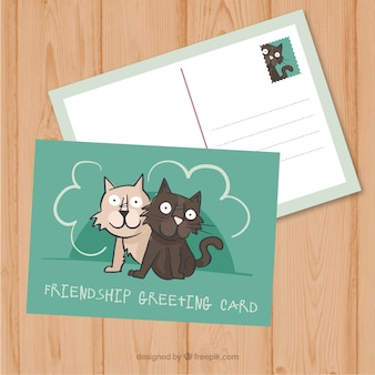 Nice hand drawn cats friendship postcard
