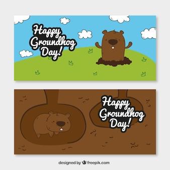 Nice hand drawn groundhog banners