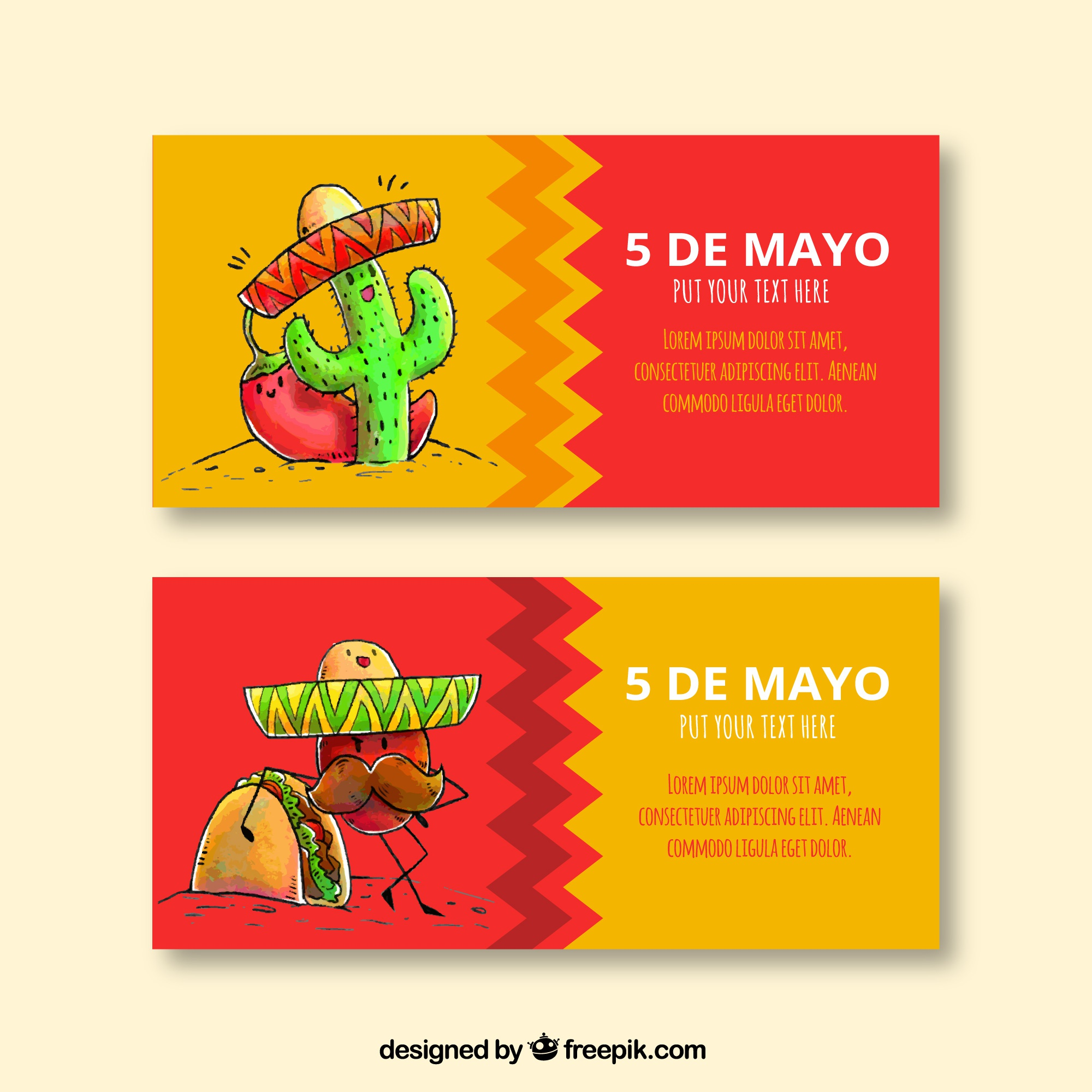 Nice hand drawn mexico banners