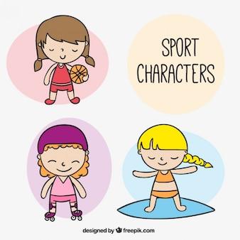 Nice hand drawn sporty girls